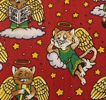 Fat Quarter - Angel Kitties - Red