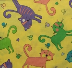 Fat Quarter - Cat Crazy - Yellow