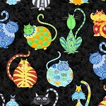 Fat Quarter - Catmosphere - Cats Allover - Black