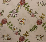 Fat Quarter - Cats In The Garden - Cats In Floral Diamonds - Pink