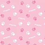 End of Bolt Piece - Cats Rule - Paws - Pink - 30