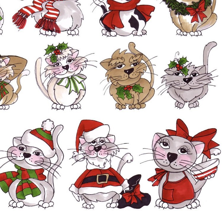 Loralie\'s Kitty Kitty Christmas - Kittens in a Row Panel