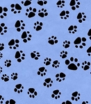 Fat Quarter - Pampered Pets - Paw Prints - Blue