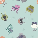 Fat Quarter - Poodle & Doodle - Cats in Chairs - Sky Blue