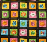 Fat Quarter - Prisma Cats - Cat Blocks - Black