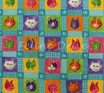 Fat Quarter - Prisma Cats - Cat Blocks - Turquoise