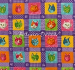 Fat Quarter - Prisma Cats - Cat Blocks - Purple