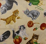 Fat Quarter - Purrfect Notions - Kitten Toss - Tan