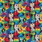 Fat Quarter - Rainbow Kitty Kats