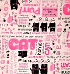 Fat Quarter - Smudgy Cat - Cat Talk - Pink