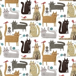 It's Raining Cats & Dogs - Cats at Play - White - Digital