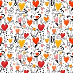 It's Raining Cats & Dogs - Cats & Hearts - Coral - Digital