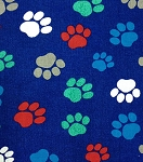 Flannel - Paw Prints - Multi on Blue