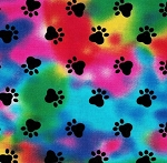 Fat Quarter - Paw Prints on Tie Dye