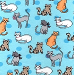 Flannel - Kitty Friends - Blue