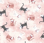 Fat Quarter - Parisian Cats - Toss