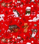 Flannel - Holiday Kitties on Red