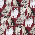 End of Bolt Piece - Flannel - Realistic Cats on Red - 7
