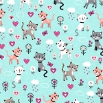 Flannel - Kitties & Hearts