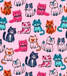 Fat Quarter - Flannel - Blushing Kitties