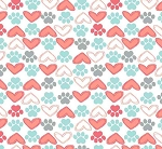Fat Quarter - Flannel - Super Snuggle Flannel - Hearts & Paws - Coral & Mint