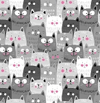 Flannel - Happy Gray Cats