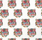 Fat Quarter - Flannel - Super Snuggle Flannel - Tie Dye Tiger Faces - White