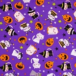 End of Bolt Piece - Flannel - Super Snuggle Flannel - Halloween Cats - 5.5