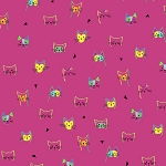 End of Bolt Piece - Kitty Cats - Cat Faces - Pink - 7.5