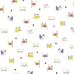 Fat Quarter - Kitty Cats - Cat Faces - White