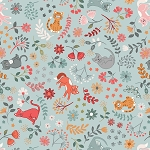 Purrfect Petals - Floral Cats - Light Blue