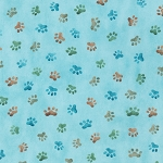 Whiskers & Tails - Paw Prints - Dusty Blue - Combed Cotton