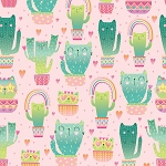 Fat Quarter - Quirky Cat Cacti - Pink