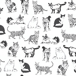 Fat Quarter - Pet Sketch - Sketched Realistic Cats - White