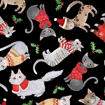 Cats in Christmas Sweaters - Black