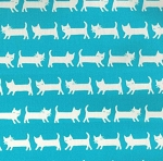 Tip Top Cats - Turquoise - OXFORD CLOTH