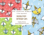Fat Quarter Bundle - Doodle Pop - Birthday Cats - 3 FQs