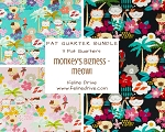 Fat Quarter Bundle - Monkey's Bizness - Meowi- 3 FQs