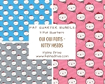 Fat Quarter Bundle - Oui Oui Paris - Kitty Heads - 3 FQs