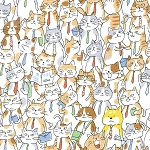 Jam-Packed Cats - White - OXFORD
