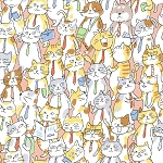 Jam-Packed Cats - Pink - OXFORD
