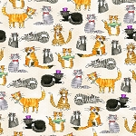 Flannel - Comfy Flannel - Cats - Beige