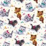 Fleece - Kitties - Cream - MINKY