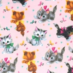 Fleece - Kitties - Pink - MINKY