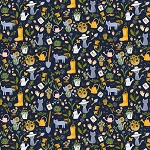 Meant To Bee - Gardening Cats - Navy
