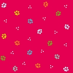 Fat Quarter - ABCDiaries - Paws - Red - Digital