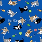 Fat Quarter - A Cat Tale - Kitten Toss - Blue