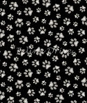 End of Bolt Piece - Adorable Pets - Paw Prints - Black - 35
