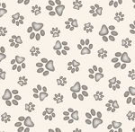 Fat Quarter - Adorable Pets - Paw Prints - Cream