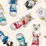 Fat Quarter - Adorable Pets - Sneaker Toss - Cream